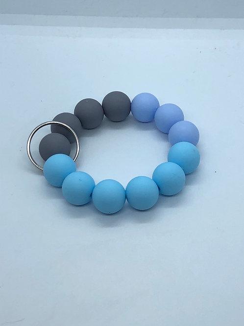 Grey + Blue Keychain
