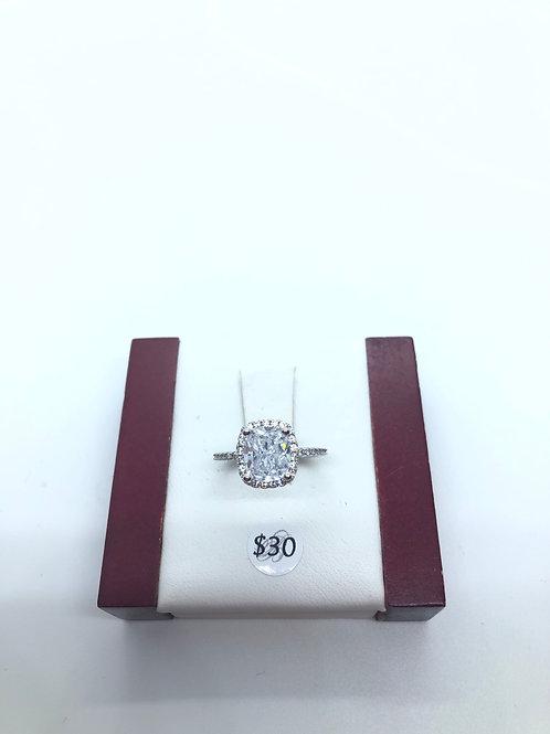 Cubic Zirconia Cushion Ring