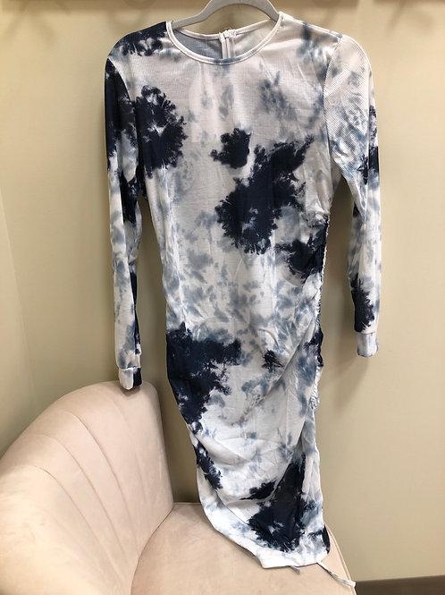 Navy Tie Dye Tie Up Dress