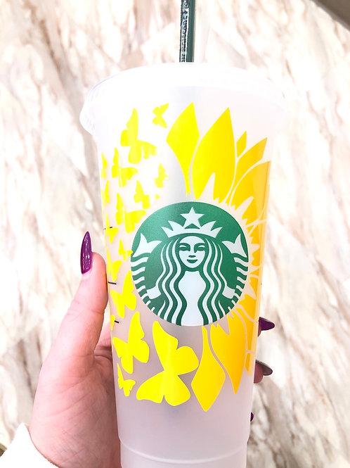 Yellow Butteffly + Flower Cup