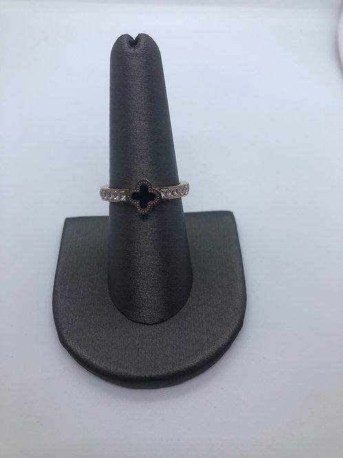 Petite cross rose gold pavé ring