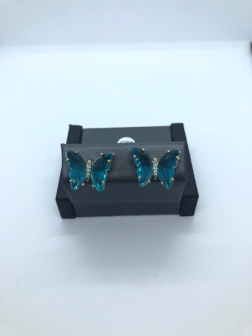 Teal Glass Butterfly Studs
