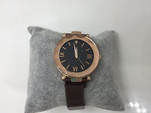 Rose Gold with Black Metal Strap Watch