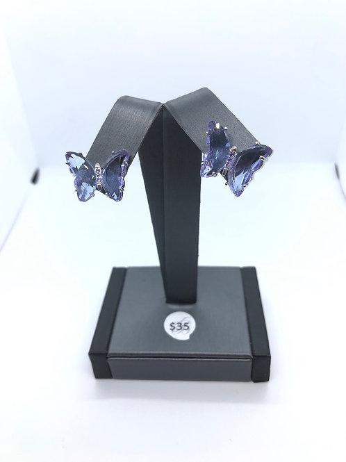 Purple + Silver Butterfly Studs