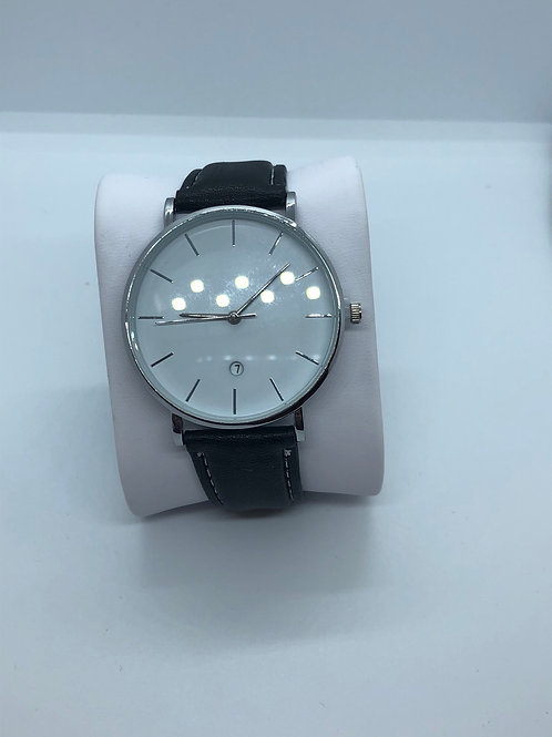 Leather style band watch