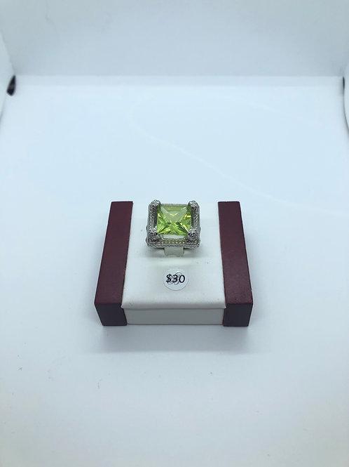 Peridot Coloured Crystal Ring