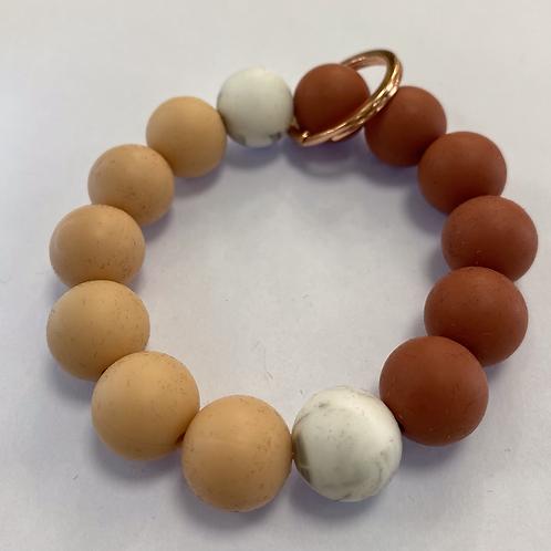 Coral + Peach + White Marble Keychain