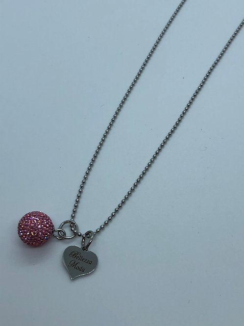 Pink micropave necklace
