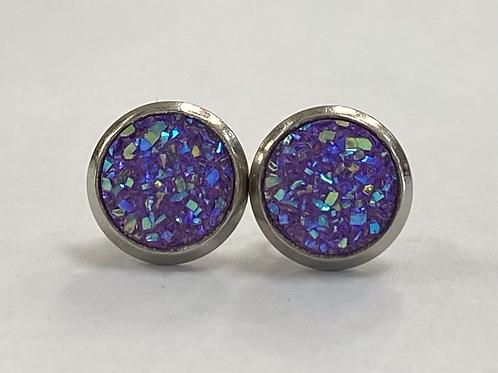 Purple Multicoloured Druzy Earrings