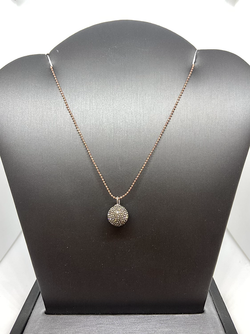 Pewter Micropavé Crystal Ball Necklace