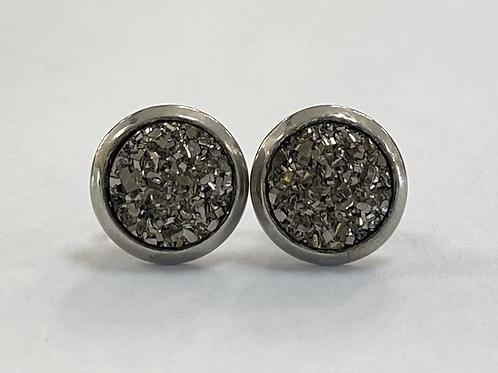Pewter Druzy Earrings