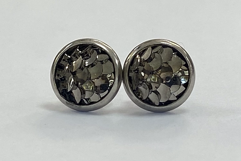 Pewter Scaled Druzy Earrings