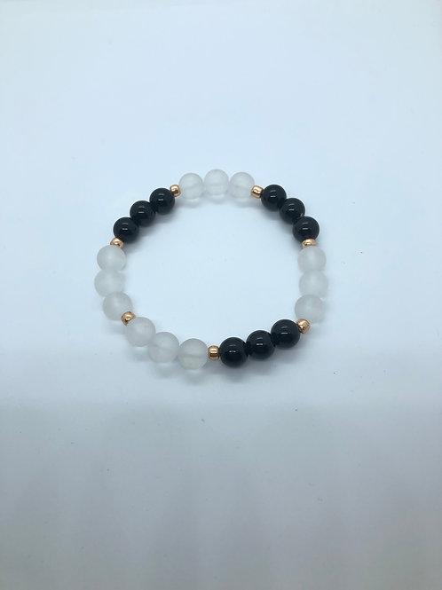 Clear + Black + Rose Gold Beaded Bracelet