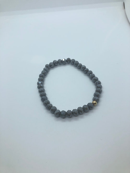 Grey + Gold Beaded Bracelet