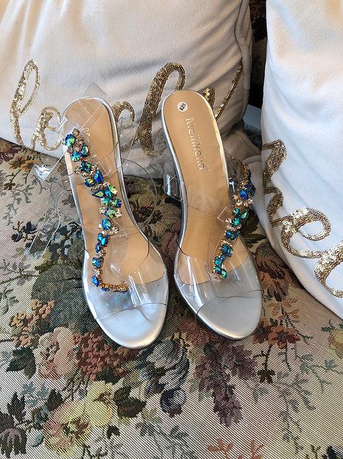 Sparkly Blue Rhinestone Heels