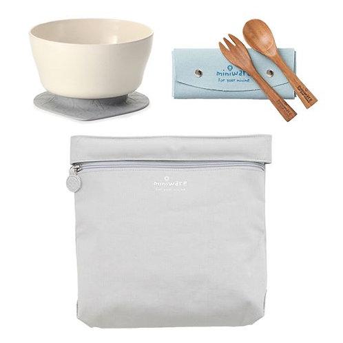Miniware 旅行餐具組 - 大象灰收納袋 / 牛奶白麥片碗 (米白)