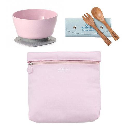 Miniware Travel Set - Cherry Blossom Bag + Cherry Blossom Cereal Bowl