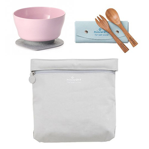 Miniware Travel Set - Elephant Grey Bag + Cherry Blossom Cereal Bowl