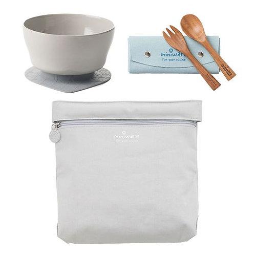 Miniware Travel Set - Elephant Grey Bag + Nordic Lake Cereal Bowl