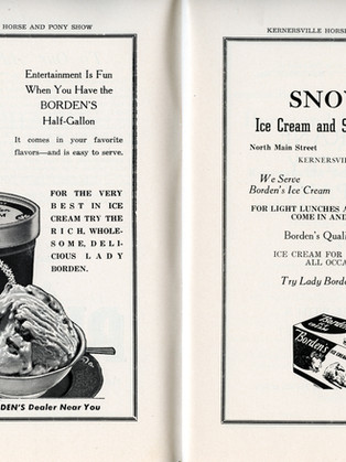 Program ads for Borden's and Snow's