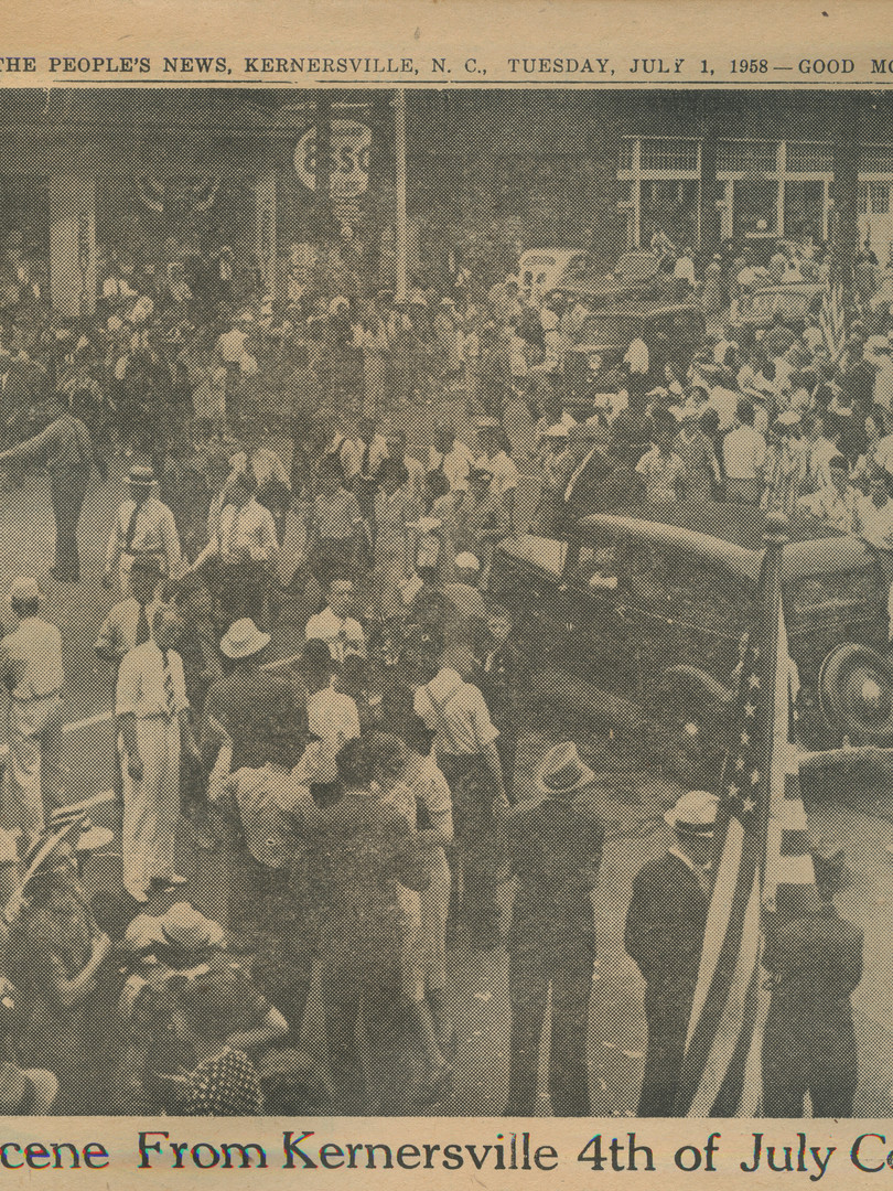 """1940 Scene From Kernersville 4th of July Celebration"" The People's News: July 1st, 1958"