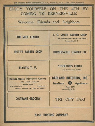 """""""Enjoy Yourself on the 4th by Coming to Kernersville"""" The People's News: July 1st, 1958"""