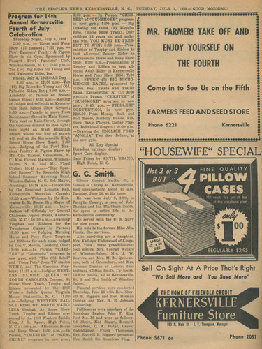 """""""Program for the 14th Annual Kernersville 4th of July Celebration"""" The People's News: July 1st, 1958"""