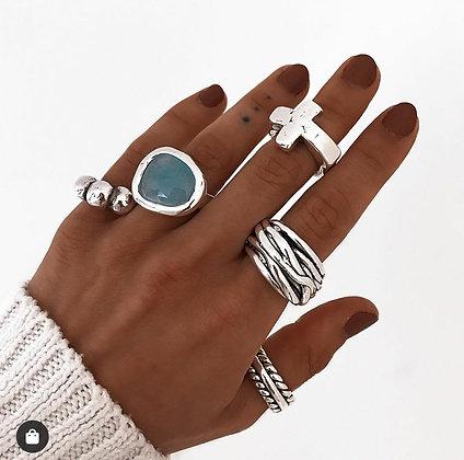 Кольцо PureSilver голубой нефрит