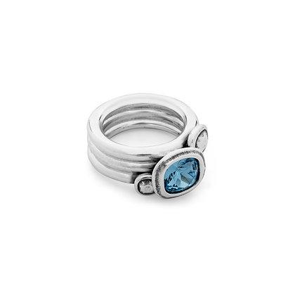 Кольцо Ciclon Swarovski голубой