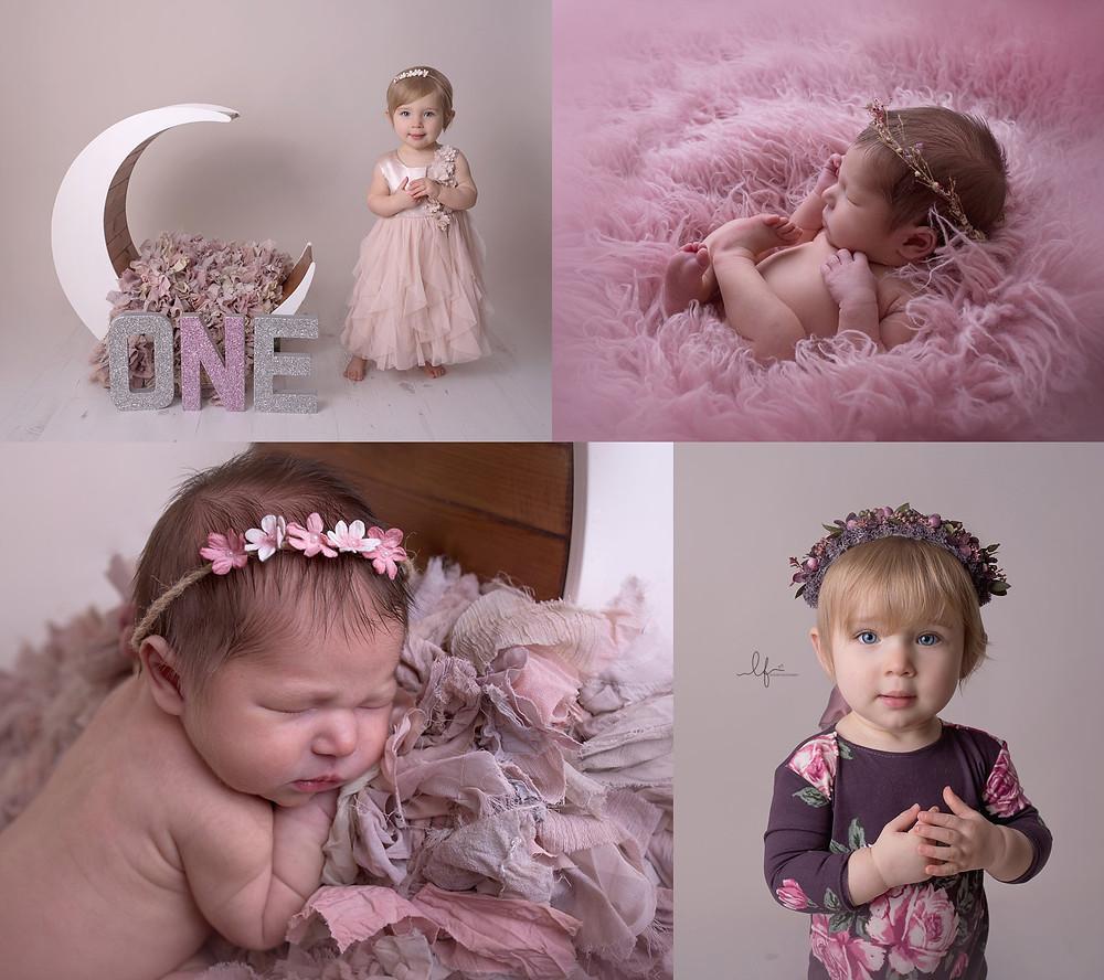 little girl newboorn to 12 month photos