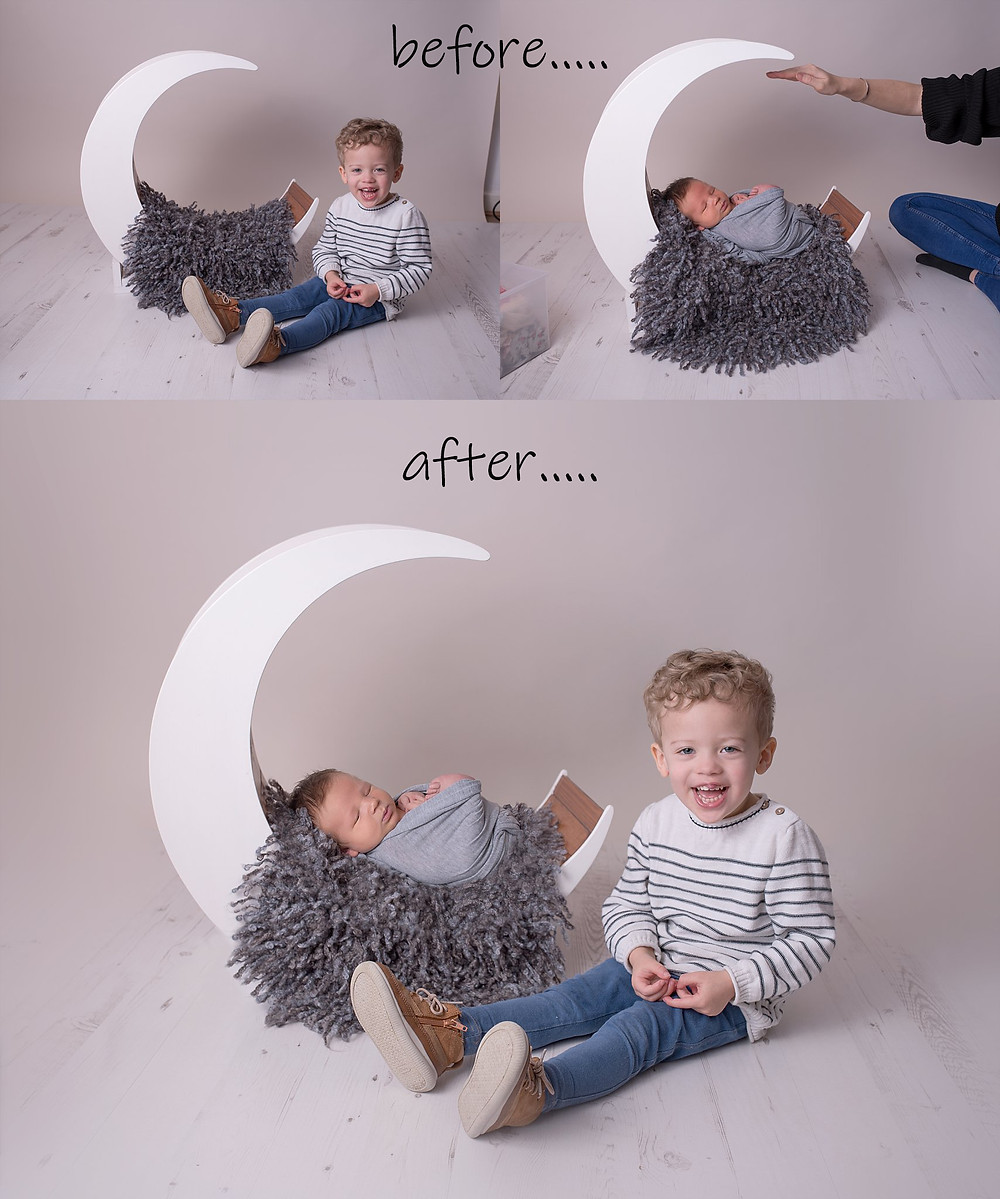 a little behind the scenes of this photo was achieved....Baby boy in moon with big brother sitting next to him