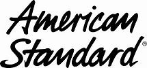 This is the American Standard black and white logo, a provider of kitchen and bathroom fixtures that S Ferro plumbing and heating uses for instillations
