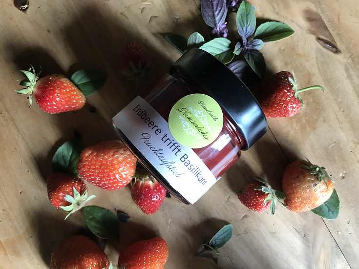 Erdbeere Basilikum Fruchtaufstrich