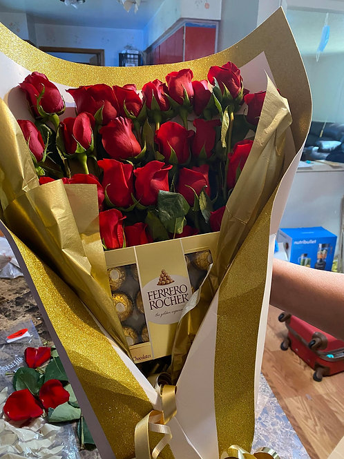 20 Red Roses with Chocolate