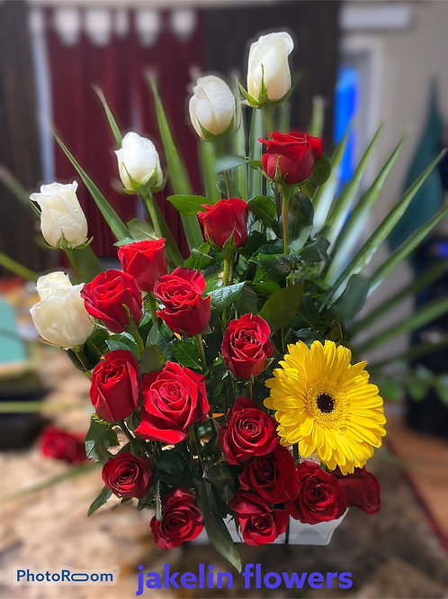 White, Red Roses and Sunflower