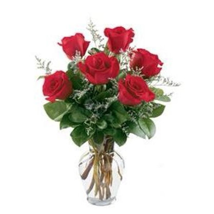 6 Red Roses with Vase