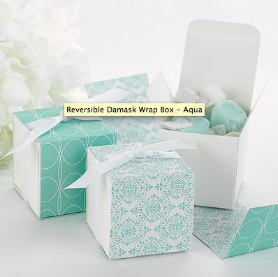 Reversible Damask Wrap Boxes - Aqua