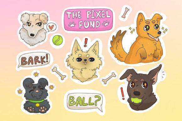 Pixel Mascot Dog: Sticker Sheet