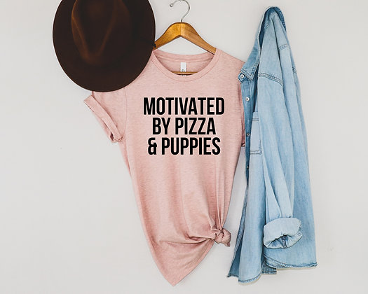 Motivated by pizza and puppies unisex T-Shirt