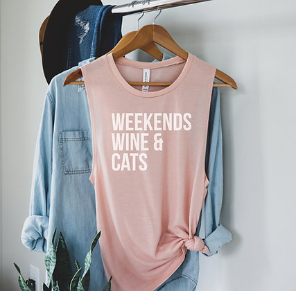 Weekends, Wine and Cats Ladies' Muscle Tank