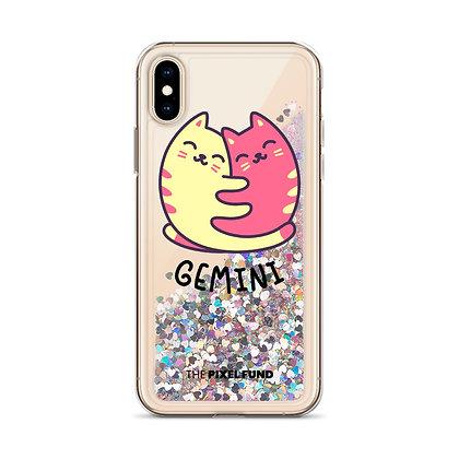 Liquid Glitter Phone Case: Gemini Cat