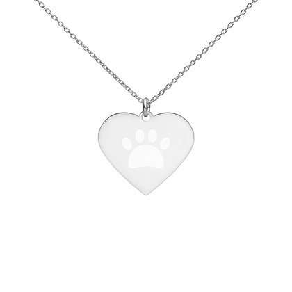 Paw Print Engraved Heart Necklace