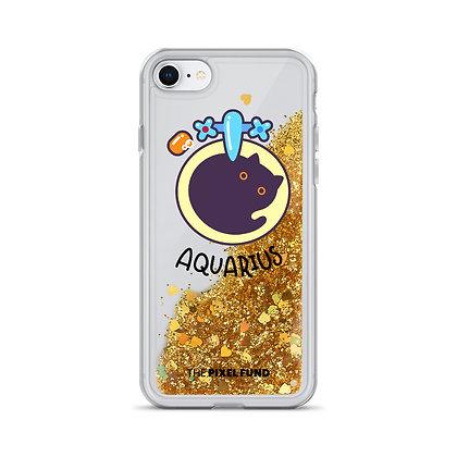 Liquid Glitter Phone Case: Aquarius Cat