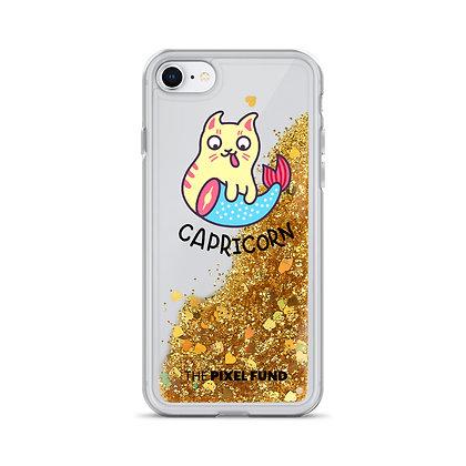 Liquid Glitter Phone Case: Capricorn Cat