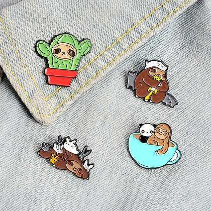 Sloths and Cats 4-pin Set