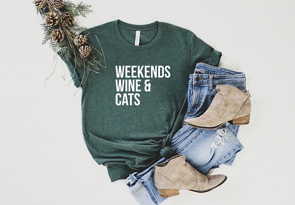 Weekends, Wine & Cats Short-Sleeve Unisex T-Shirt