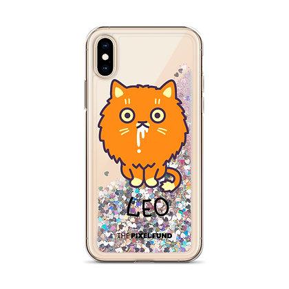 Liquid Glitter Phone Case: Leo Cat
