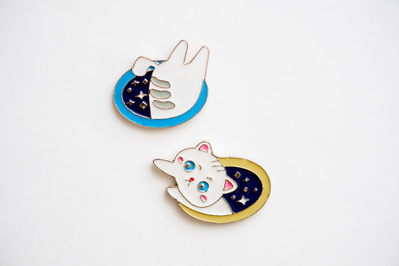 Cat Time Warp Space Pin Set