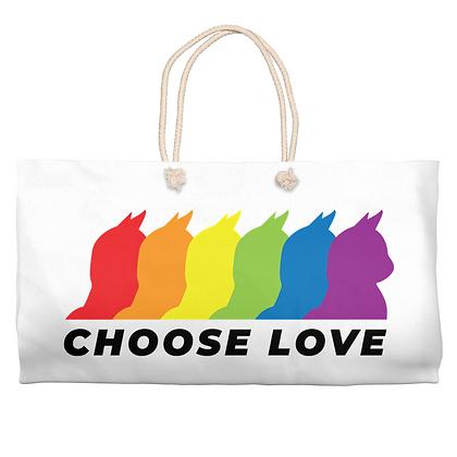 Choose Love: Cat Weekender Tote