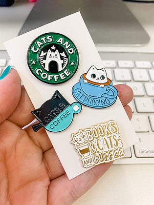 Cats and Coffee 4-pin Set